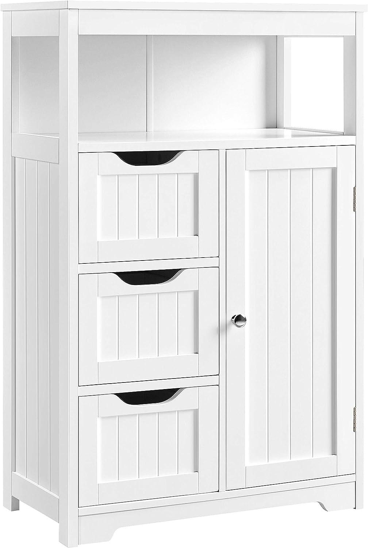 YAHEETECH Bathroom Floor Cabinet, Free Standing Wooden Storage Organizer Multiple Tiers Storage Living Room Cabinet