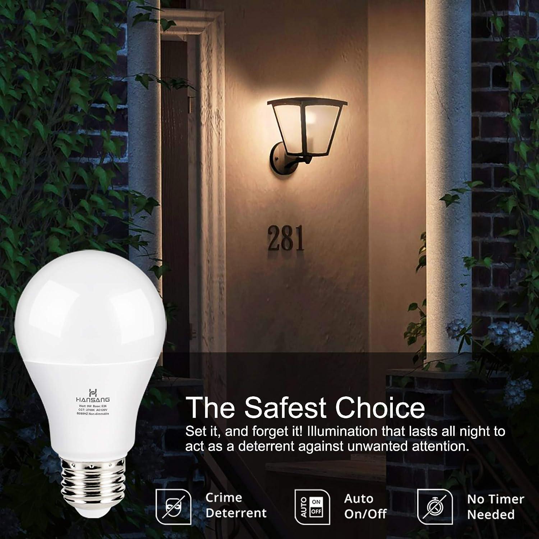 A19 LED Dusk to Dawn Light Bulb,Hansang Sensor Light Bulbs with Photocell,2700K Warm White,9W 60W Equivalent ,E26 Medium Base,Outdoor Light Bulb for Porch,Patio,Hallway,Auto On//Off,750LM,2 Pack