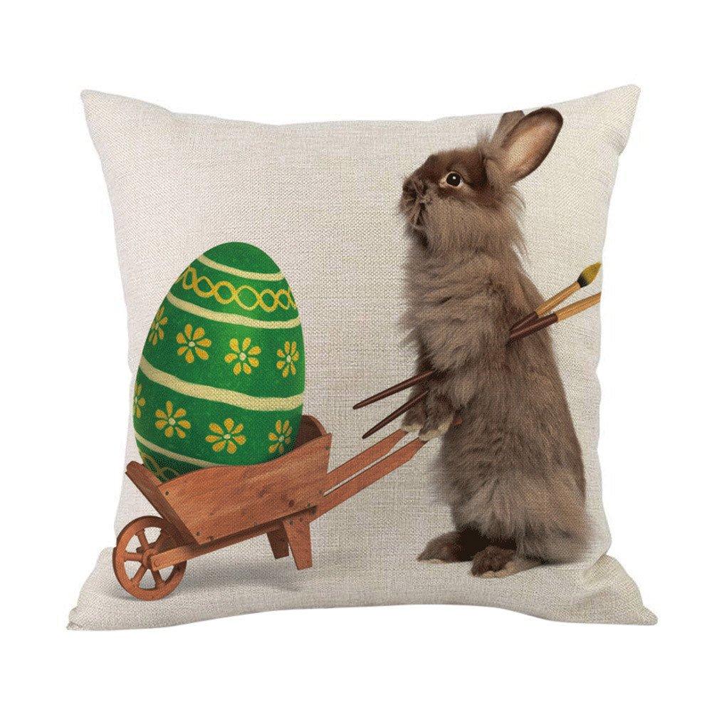 Geetobby Easter Throw Pillow Case Bunny Rabbit Eggs Linen for Men Women Sofa Bedroom Livingroom
