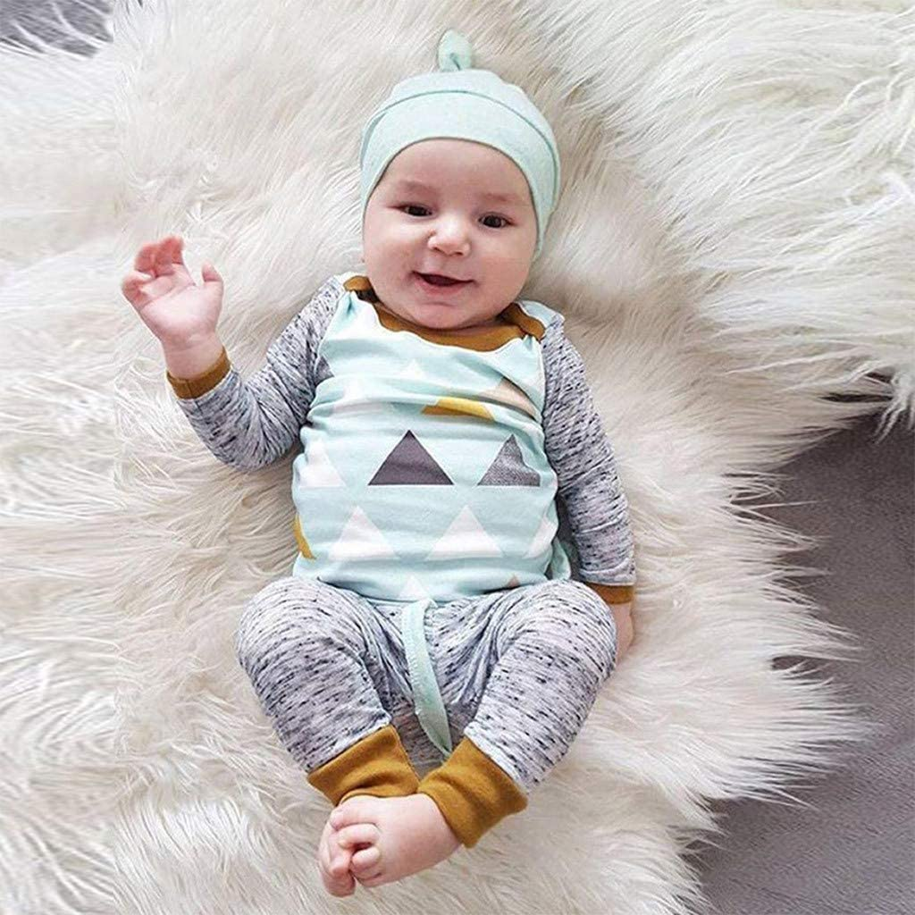 0-18 Months,SO-buts Toddler Newborn Baby Boy Long Sleeve T-Shirt Trousers Hat Three Piece Suit Geometric Pajamas Sleepwear Pattern Warm Outfits