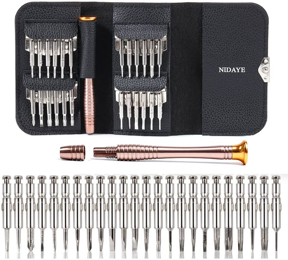 25 in 1 Precision Screwdriver Set – Philips Torx Flat Mini Screwdriver Kit for PC/Glasses/Mobile Phone/Laptop/Watch/RC Quadcopter Drone/MacBook/Tablet/iPad with Leather Case by Fabcell