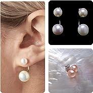 Large Double Pearl Earrings Set, Interchangeable White & Pink Freshwater Pearl Earrings