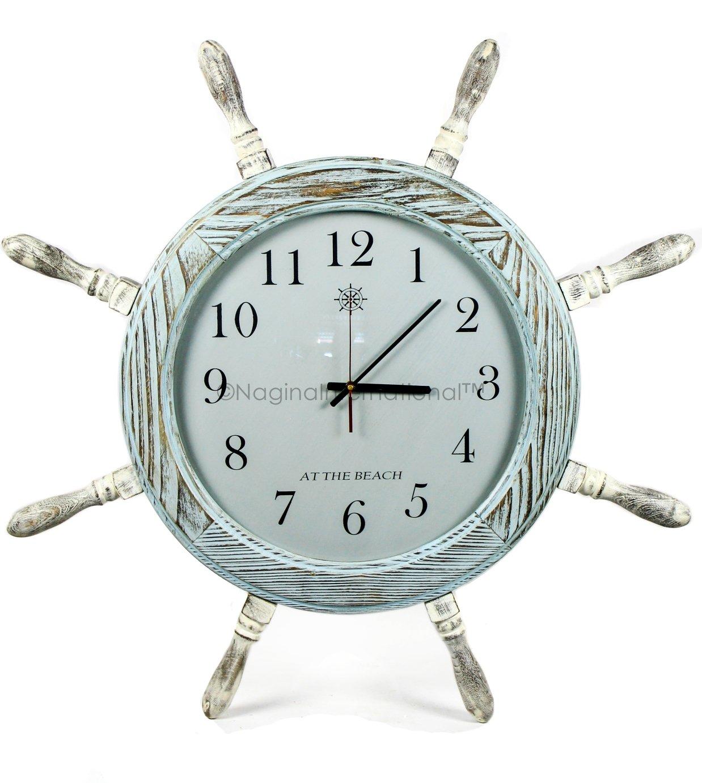 Nagina International Large Premium Pine Wood Nautical Ship Wheel Vintage Clock   Pirate's Gift   Beach Home Decor (16 Inches)