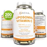 Natural Liposomal Vitamin C - 200 Capsules, 1500mg, Immune System & Collagen Booster, High Absorption Fat Soluble VIT C…