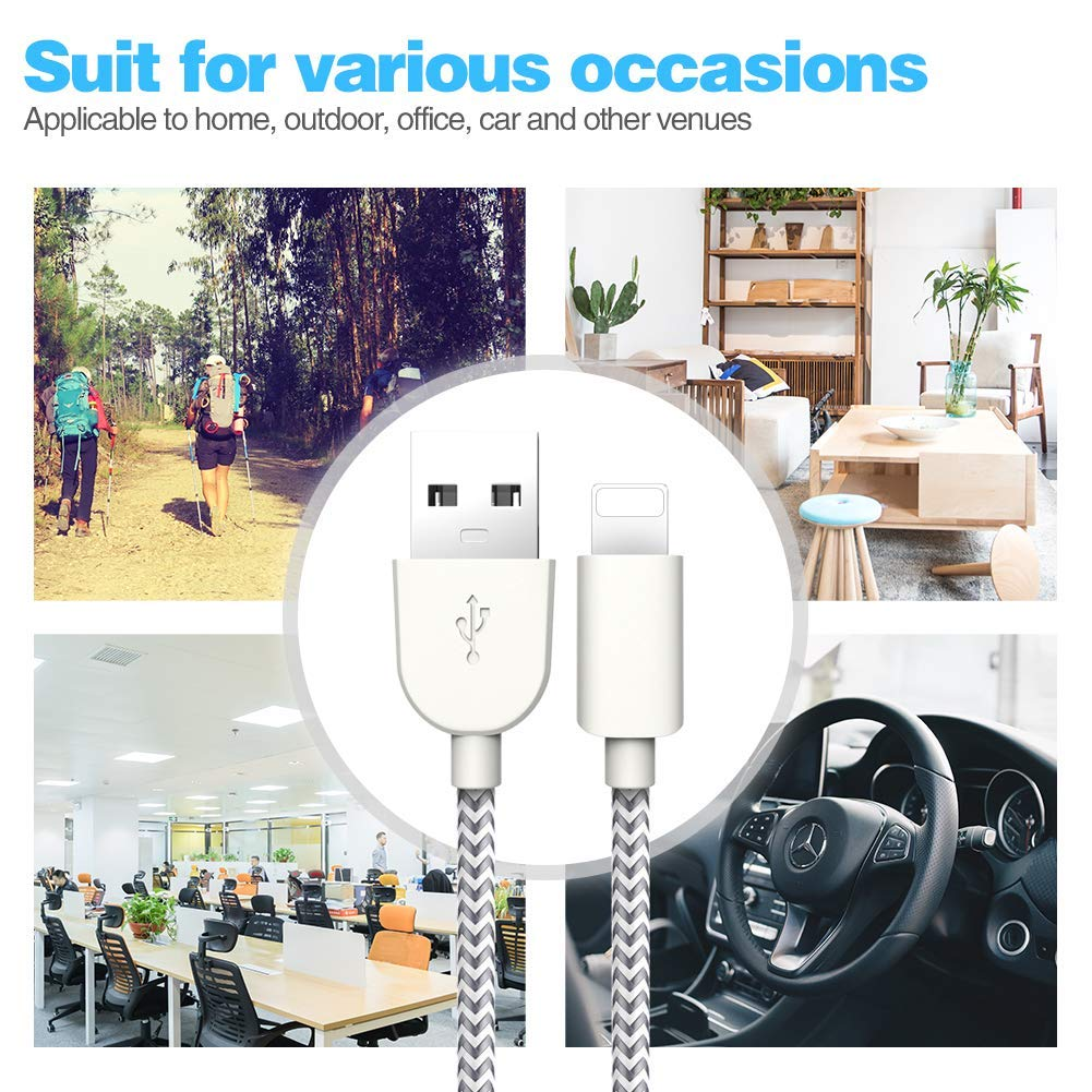 TNSO 5-Pack 3FT//3FT//6FT//6FT//10FT Phone Charge Cable,HIGH Speed Charger Cords Data and SYNC Phone Charger Cable,Replacement for Phone XS//XR//X//8P//8//7P//7//6P//6//5S//5//SE and More