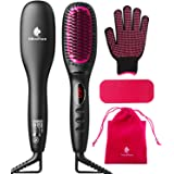 Hair Straightener Brush with Ionic Generator by MiroPure, 30s Fast MCH Ceramic Even Heating, 11 Temperature Control, Professi
