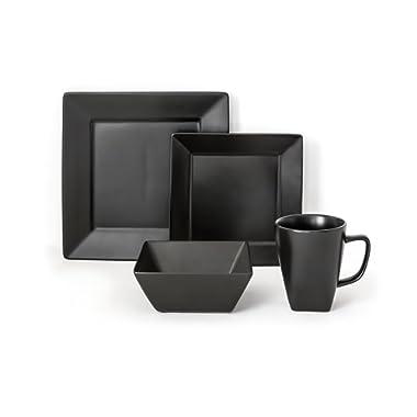 overandback 812219 Hard Square 16pc Dinnerware Set, Service for 4 Black