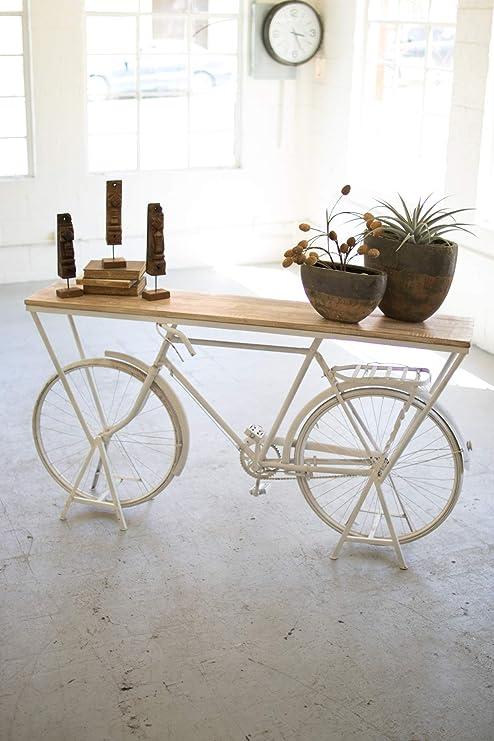 Mesa de sofá de Consola de Bicicleta Blanca rústica repurpuesta ...