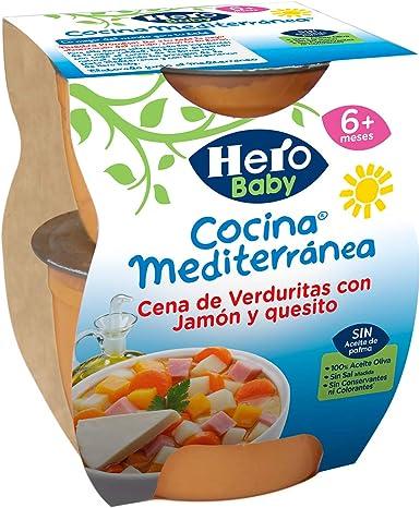Hero Baby Cocina Mediterránea Cena de Verduras con Jamón y Quesito Tarrito de Puré para Bebés a partir de 6 meses Pack de 6 u de 2 x 200 g: Amazon.es: Alimentación y bebidas