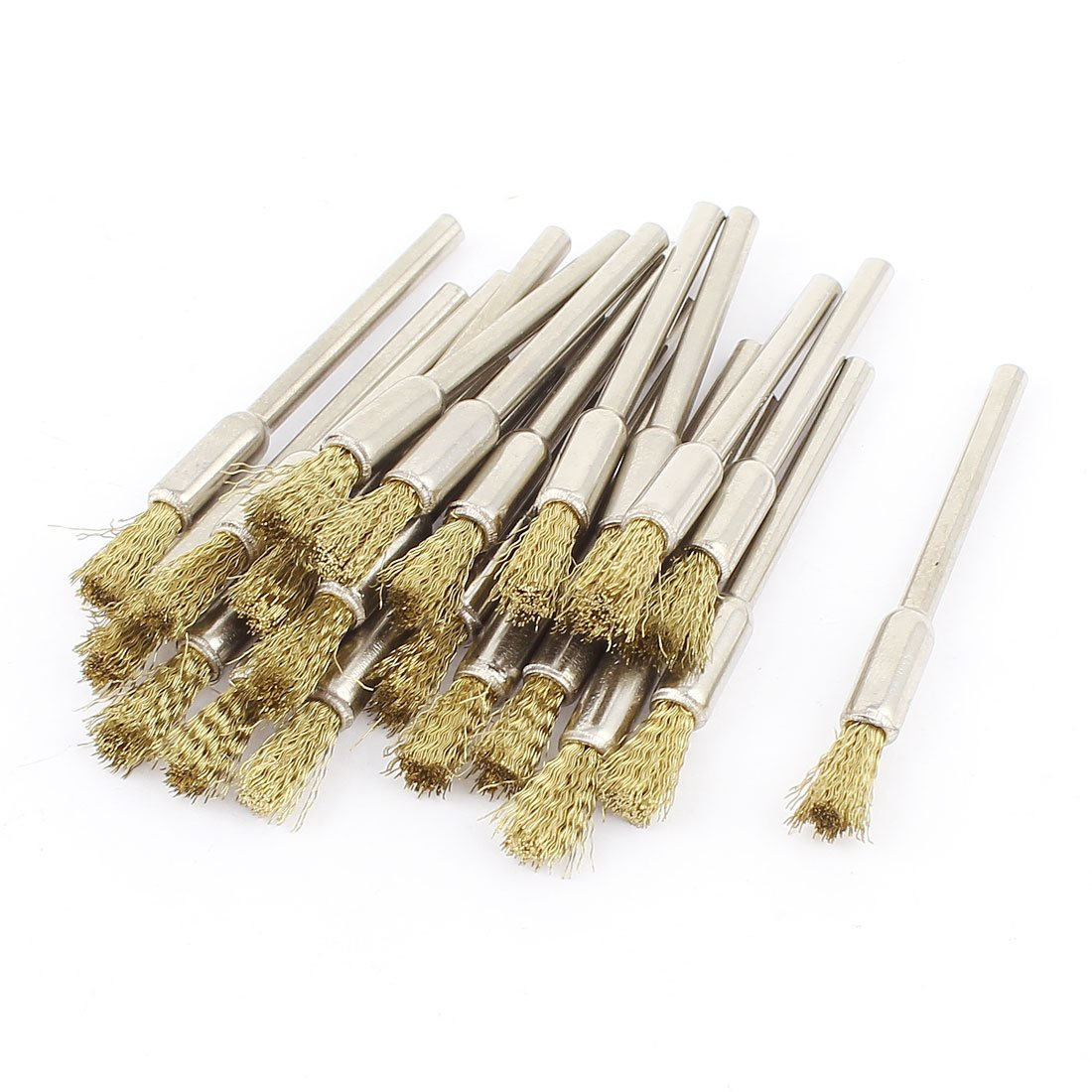 Sourcingmap 1/8 Inch Mandrel Gold Tone Wire Pen Polishing Brush 22pcs a14110600ux0721