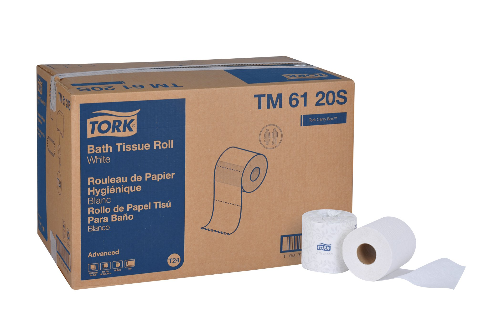 Tork Advanced TM6120S Bath Tissue Roll, 2-Ply,  4'' Width x 3.75'' Length, White (Case of 96 Rolls, 500 per Roll, 48,000 Sheets) by Tork