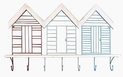 Diseño de caseta de playa de estilo de metal y madera estante de pared con 7