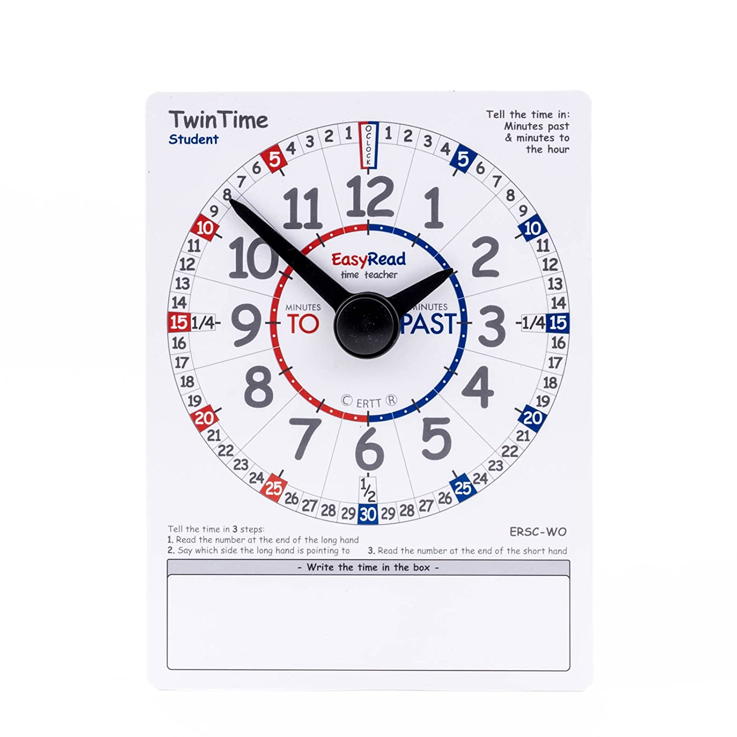 6 x 8 double-sided write on wipe off clock card EasyRead TwinTime Student Edition