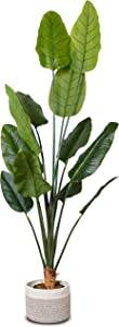 """Elpidan- Artificial Bird of Paradise Palm Tree Plant Decor 67"""", Fake Banana Tree Potted Silk Plants, Faux indoor House Plants 