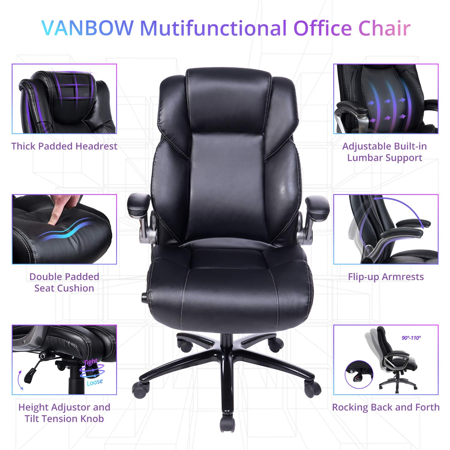 VANBOW Office Chair, Executive Computer Desk Task Swivel High Back Chair with Metal Base- Adjustable Built in Lumbar Support, Tilt Angle and Flip-Up Arms, Black by VANBOW (Image #3)
