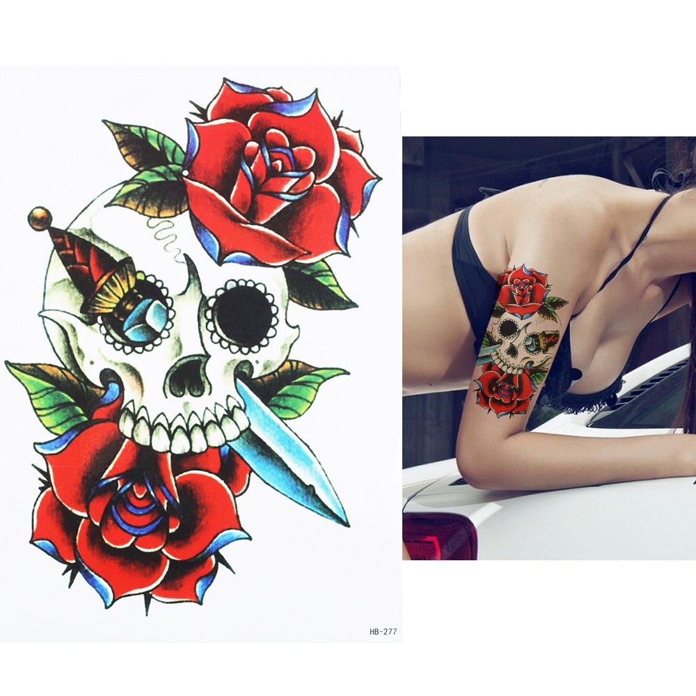 UNISEX TATUAJES Cráneo y Rosas y CuchilloTatuajes temporales ...