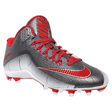 89b3bc8d98341 Nike Alpha Pro 2 3/4 TD PP Football Cleats Mens Size 13 Metallic Gray Red  White
