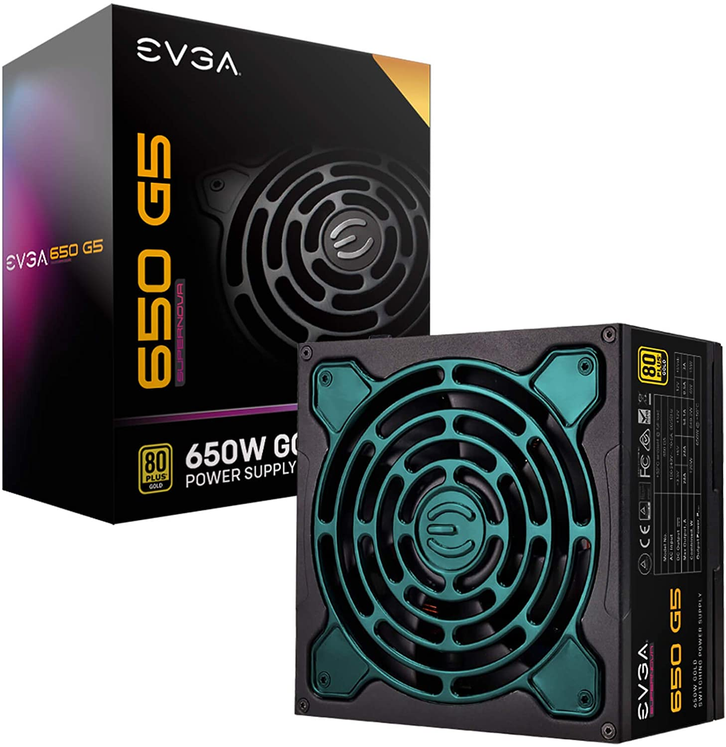 EVGA Supernova 650 G5, 80 Plus Gold 650W, Fully Modular, ECO Mode with Fdb Fan, 10 Year Warranty, Compact 150mm Size, Power Supply 220-G5-0650-X1
