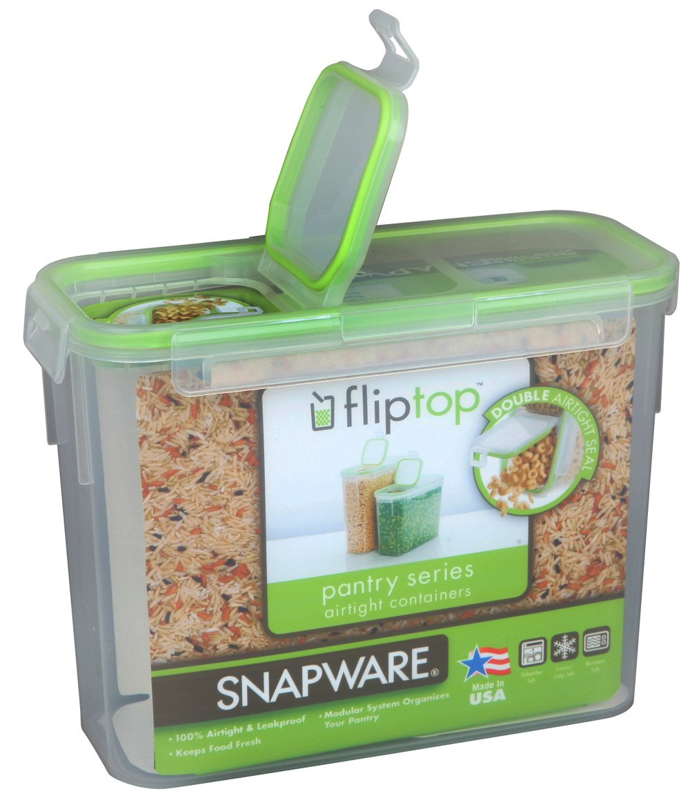 Amazon.com: Snapware 1098432 11 Cup Slim Flip TopTM Rectangle Storage  Container: Food Savers: Kitchen U0026 Dining