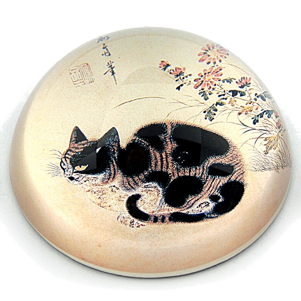 Black and Tabby Cat Korean Drawing Glass Dome Paper Weight Paperweight PBYE1 Parastone