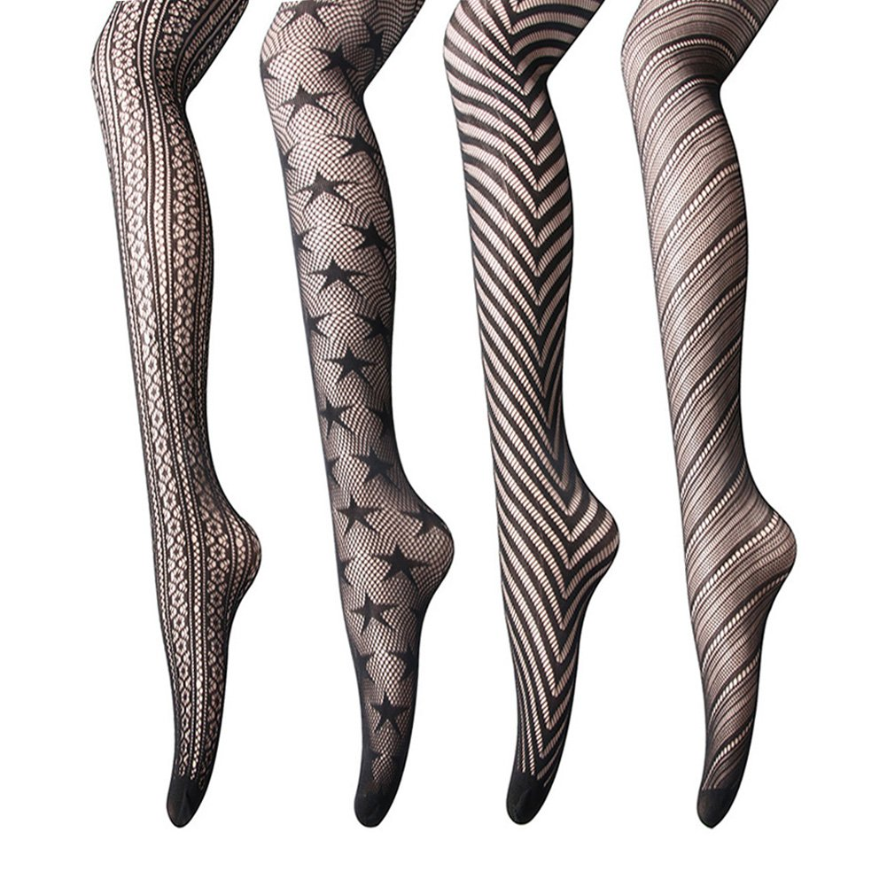 Women Fishnet Stockings – 3 or 4 Pairs Fishnets Tights for Dancing Party Halloween (One Size, Black Mix2, 6 pairs)