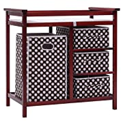 Costzon Baby Changing Table, Diaper Storage Nursery Station with Hamper and 3 Baskets (Cherry+Brown)