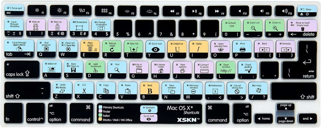 XSKN OS X Shortcuts Keyboard Skin Cover for MacBook Air 13, Pro 13 15 17 (US/EU Version) Model A1278 A1286 A1297 A1342 A1369 A1398 A1425 A1466 A1502