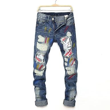 5719310c486d CHFYI Männer Mittlere Taille Straight Printed Zerrissene Jeans,Blue-28