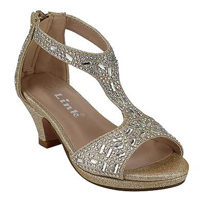 aae81c67360b30 Link Excited-95K Girl s Glitter Rhinestone T-Strap Back Zipper Wrapped Heel  Sandals