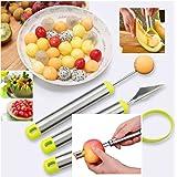 Reliabest Fruit Corer, Melon Baller Cutter, Seed Remover, Fruit Carver - Stainless Steel - 4-Piece Fruit Cutting Set - Make Fruit Salad Easily