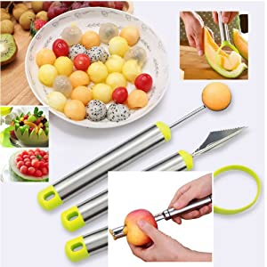 Reliabest Fruit Corer, Melon Baller Cutter, Seed Remover, Fruit Carver - Stainless Steel - 4-Piece Fruit Cutting Set