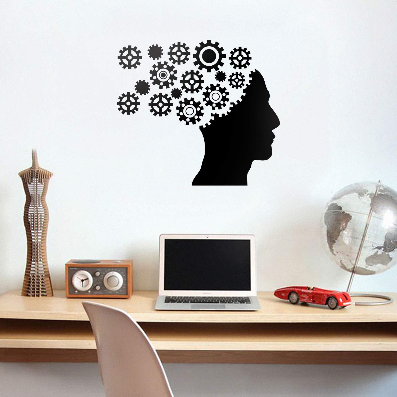 "Vinyl Wall Art Decal - Gear Brain - 20"" x 23"" - Modern Engineer Mechanical Cogwheel Figure Shapes for Home Living Room Apartment Closet Bedroom Work Dorm Room Office Decoration"