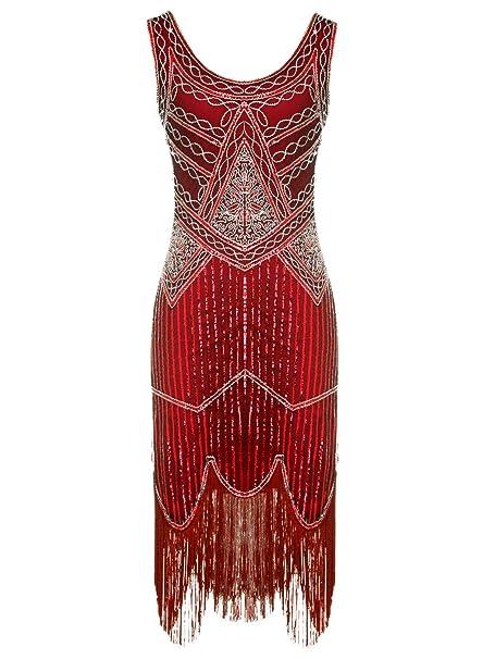 FAIRY COUPLE 1920S Vestido Bordado con Lentejuelas Bordado con Cuentas de Hem Gatsby D20S001(S