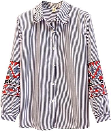 Camisas Bordadas de Las Mujeres del algodón de Las Mangas largas de la Blusa, Raya Vertical: Amazon.es: Ropa y accesorios