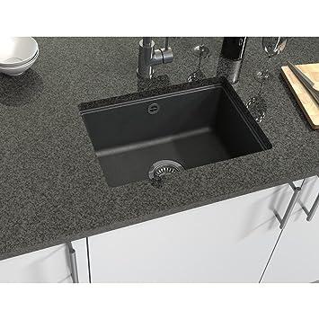 Exceptional Dual Mount Granite 20x17x7 1 Hole Bar Sink In Metallic Black