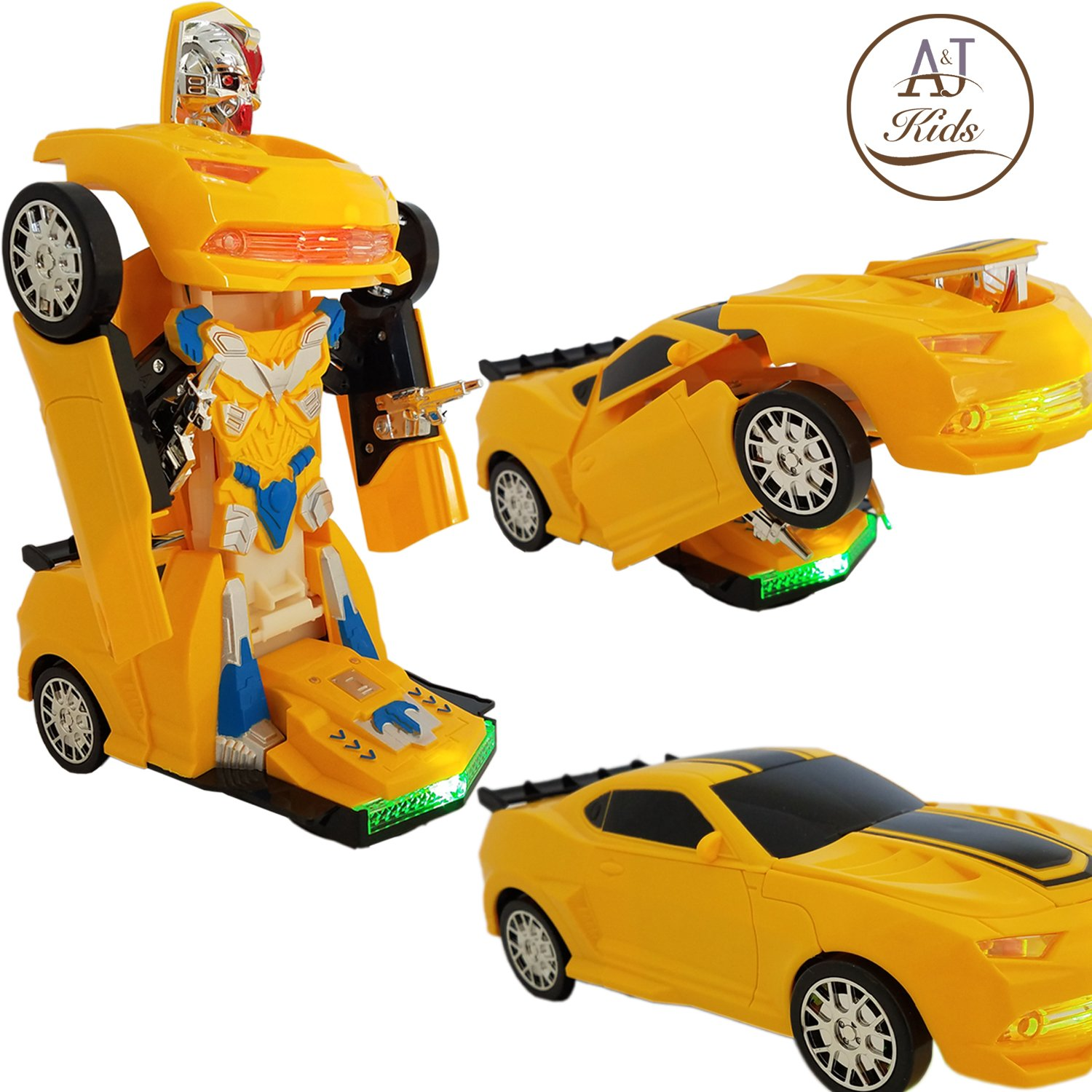 ANJ Kids Toys - Battery Operated Bump and Go Transforming Toys for Kids -Auto Transforming Auto Robots Action Figure and Toy Vehicles - Realistic Engine Sounds & Beautiful Flash Lights