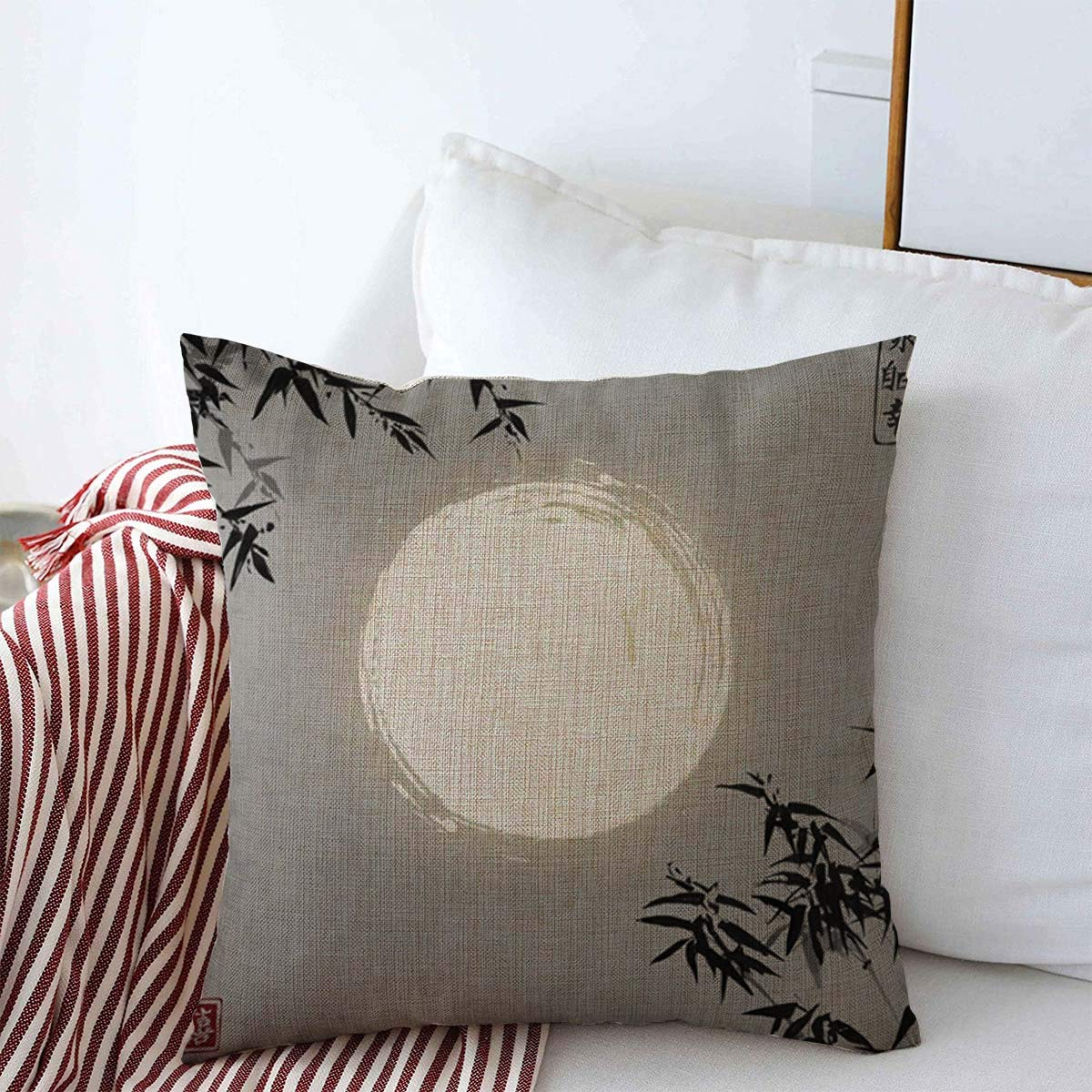 "Throw Pillow Covers 16"" x 16"" Oriental Bamboo Trees Moon Ink Painting Sumi Contains Hieroglyphs Eternity Freedom Design Cushion Square Linen Case for Winter Home Decorative"