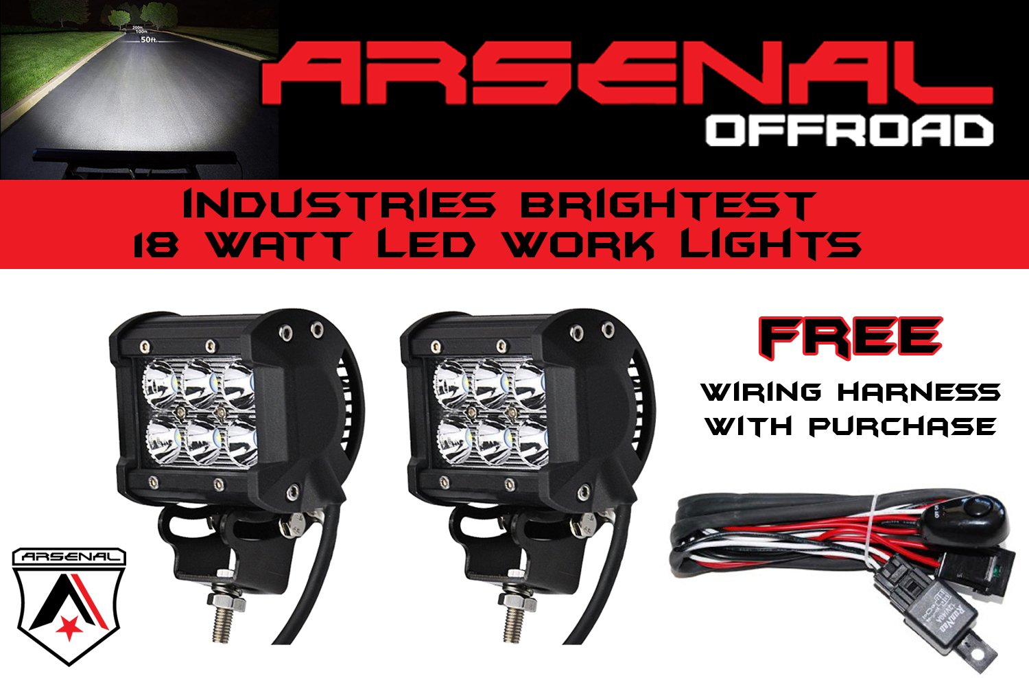Brightest Off Road Lights Wiring 1 2x 4 Arsenal Offroad Tm 18w 6 Cree Led On The Market