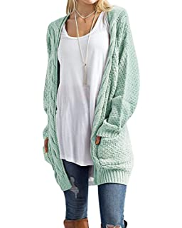 920b23add7a7c2 CNFIO Womens Long Sleeve Sweater Cardigan Open Front Loose Chunky Outwear  with Pockets