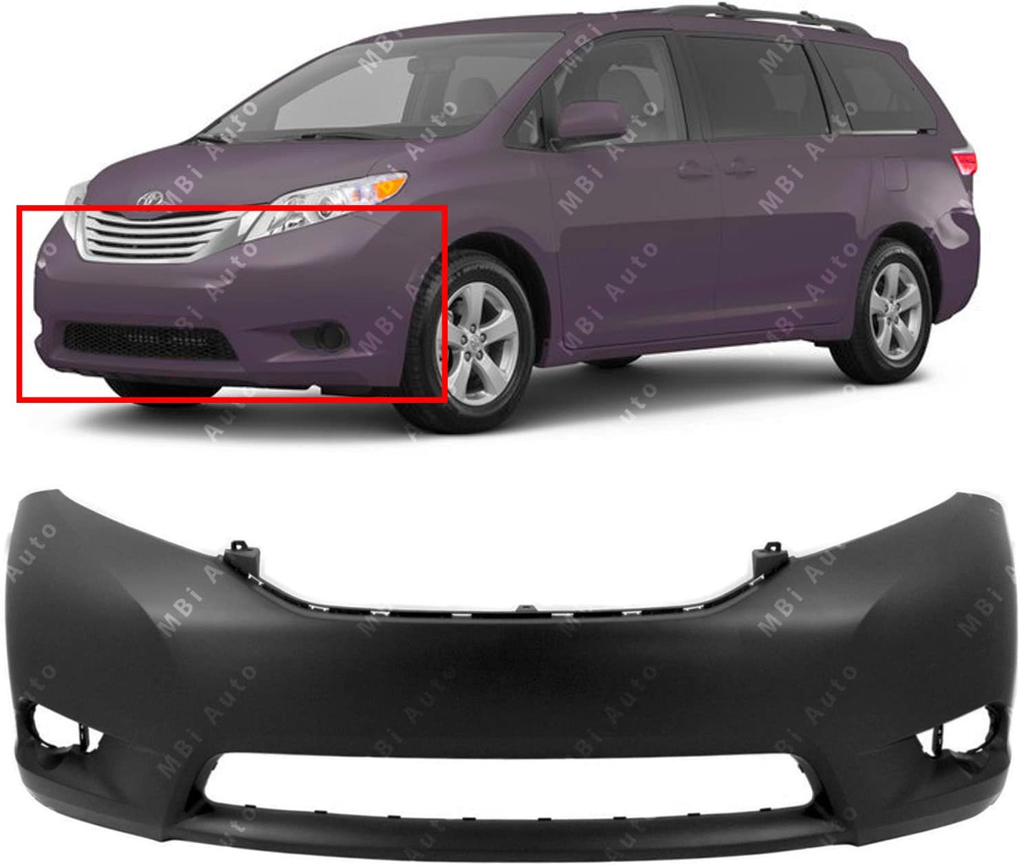 Rear Bumper Cover For 2011-2018 Toyota Sienna Van W//o PArk Assist NEW Primered
