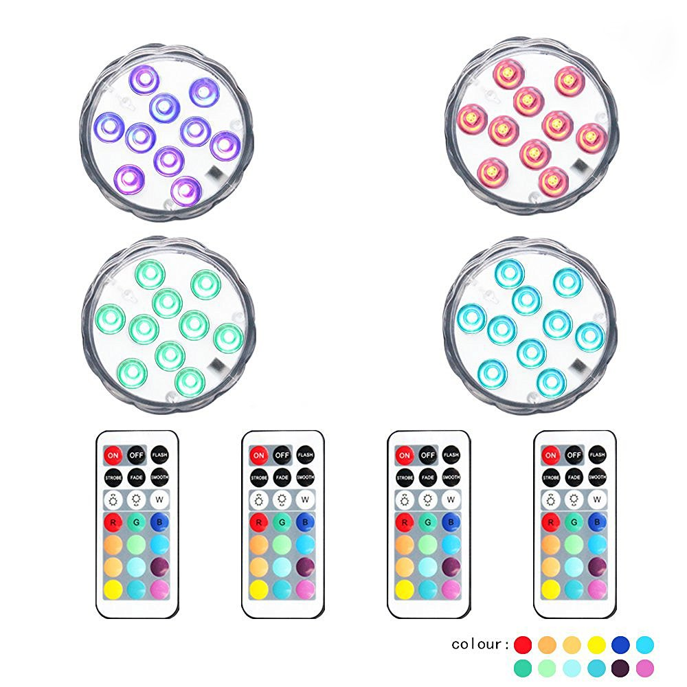 10 LED Lamp Beads Remote Controlled RGB Submersible LED Lights AAA Battery Operated Multi Color Waterproof LED Decorative Lights for Lighting Up Vase, Bowl, Fish Tank, Wedding, Centerpiece, Halloween, Party Lights (4pcs LED) callica