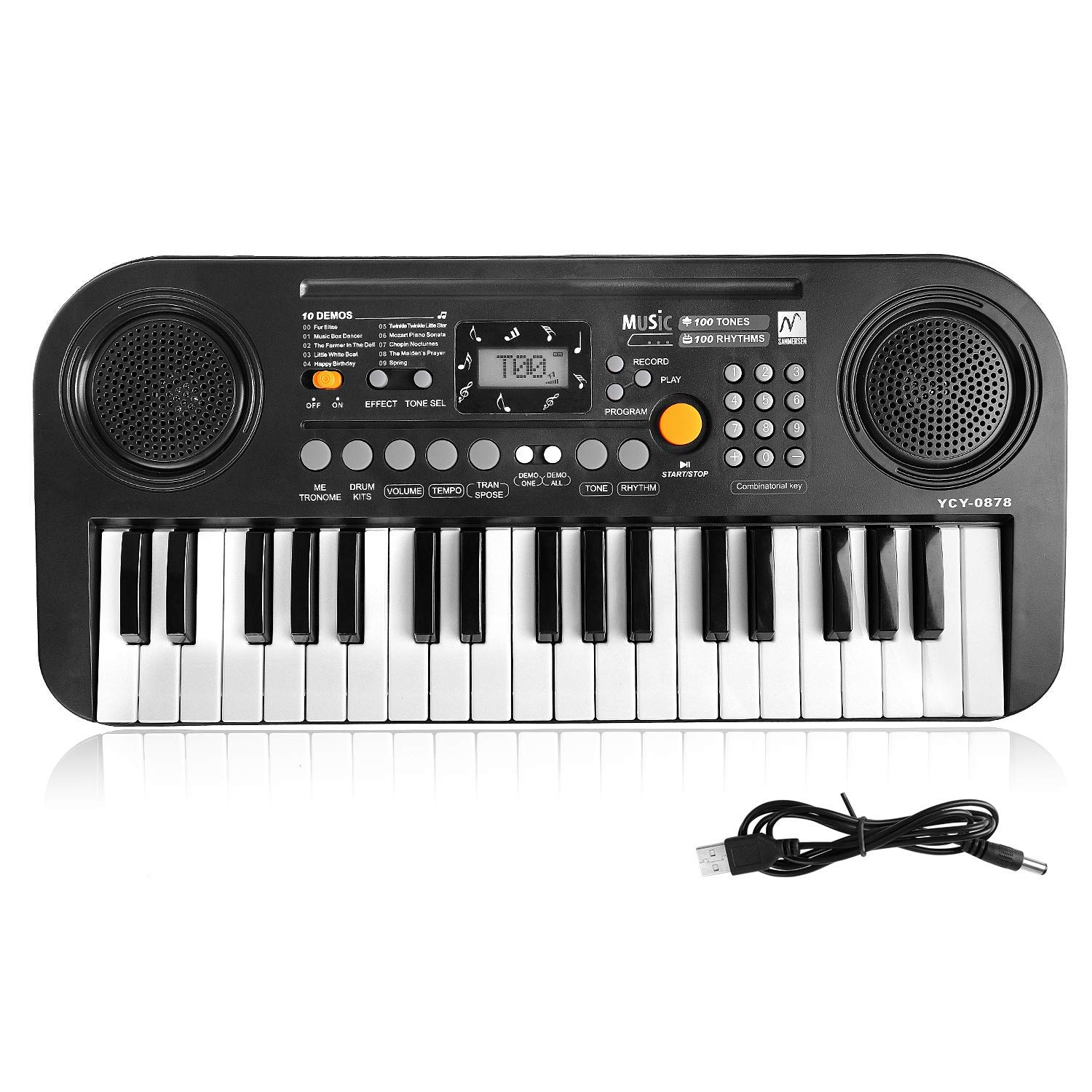 TWFRIC Kids Piano Keyboard, 37 Keys Dual-Speakers Piano for Kids LCD Screen Display Portable Keyboard 2019 Newest Piano Keyboards Music Educational Toy for Boys Girls Child (Black) by TWFRIC (Image #1)