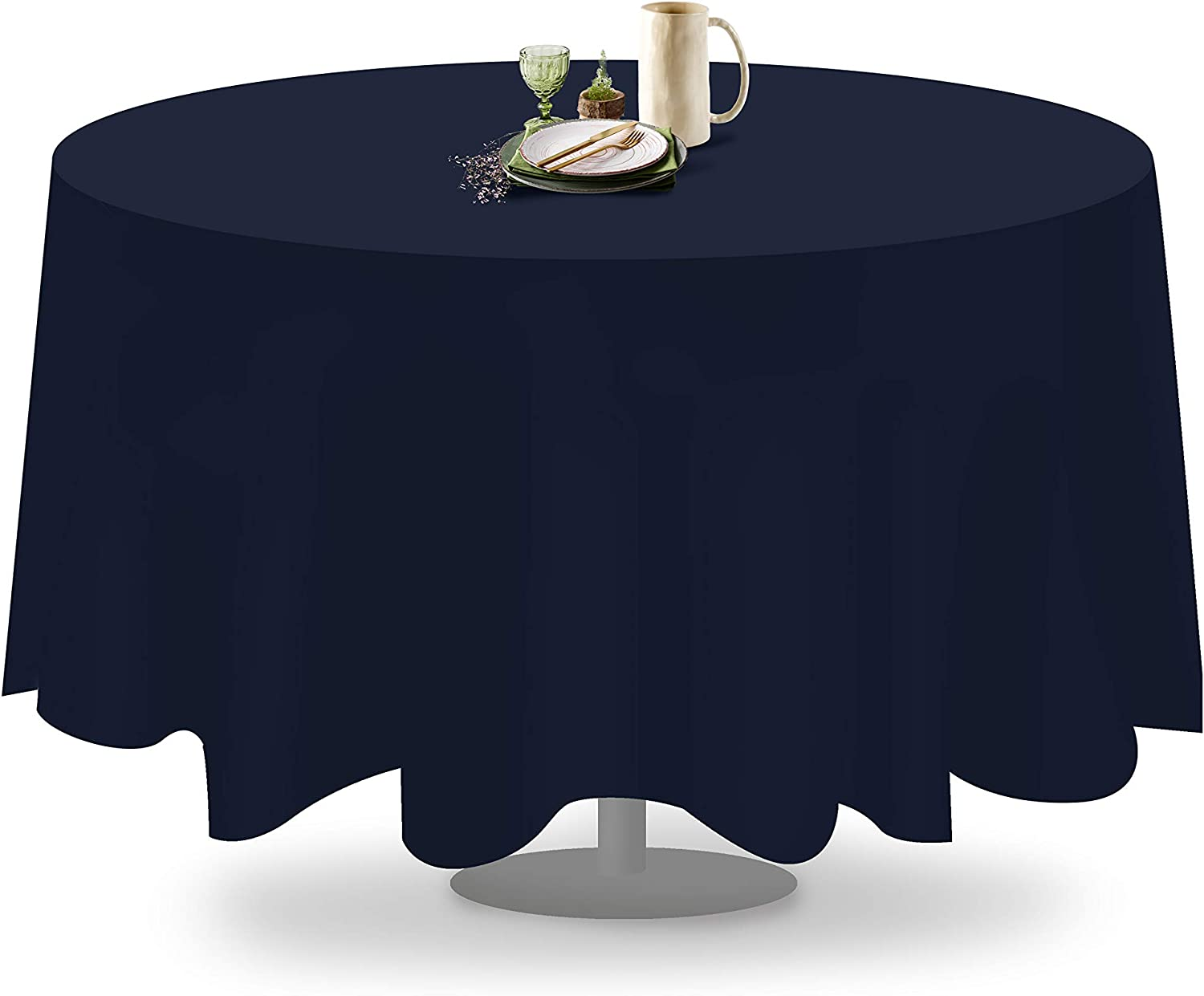 Fabric Washable Polyester Wrinkle and Stain Resistant Linen Alternative Grandipity Dark Grey 1 Pack Premium Polyester Round Tablecloth 120 Inch Circular Table Cover