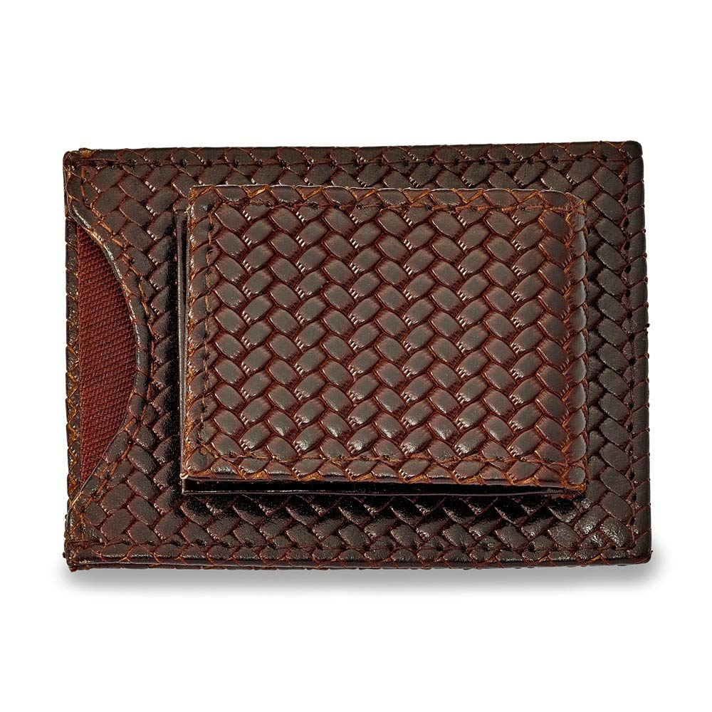 FB Jewels Solid Brown Leather Basketweave Money Clip Attached Cardholder
