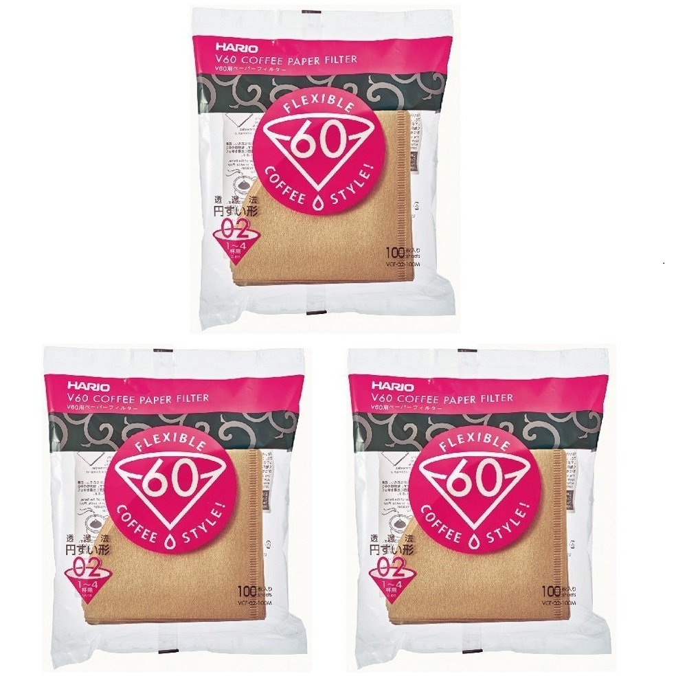 Hario V60 Size 02 3 Packs Of 100 White Paper Coffee Filter Vcf 40w 100w Total 300 Filters Import Japan Kitchen Home