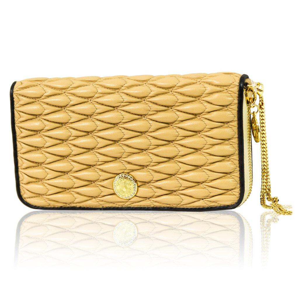 Valentino Orlandi Italian Designer Quilted Biscotti Leather Ziparound Wallet Clutch