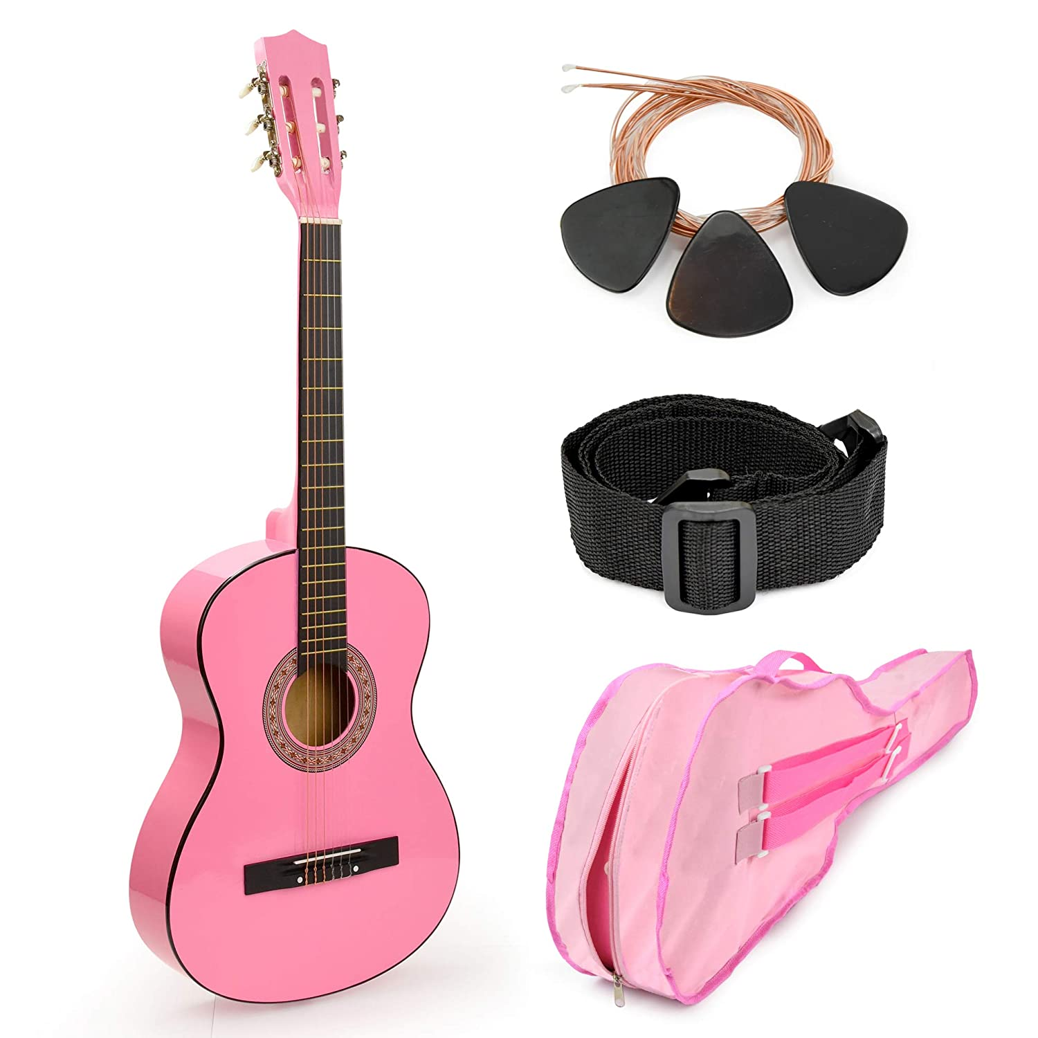 Pink Wood Guitar with Case and Accessories Great Gift for Kids/Girls / Beginners (38