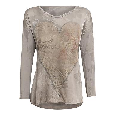 T Beige Cor De Couleur Taupe Shirt Manches Longues Diff Femme 9IWED2H