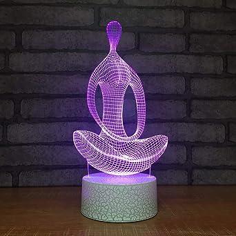 3d Yoga Meditation Optische Led Illusion Lampen 7 Farbe Blinkende Kunst Skulptur Lichter Schlafzimmer Schreibtisch Tisch Nacht Licht Awesome Geschenke Amazon De Beleuchtung