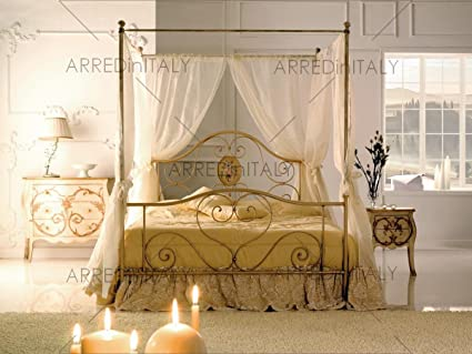 Cama de Matrimonio de Hierro de Color Marfil con Dosel ...